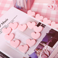 милые любовные записки оптовых-2 pcs Cute Pink Mini clip school Stationery love heart Binder photo clips Note Letter Paper Clip DIY Decoration Office Supplies