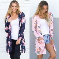 Wholesale pink knit top - New Spring Floral Cardigan Women Casual Flower Printed Top US Eur Style Outwear Thin Coat Top Clothing For Sales