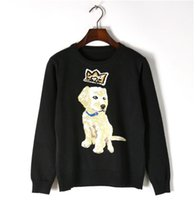 strickmuster hunde großhandel-Markendesigner Frauen Pullover 2018 Herbst Winter Krone Hund Muster Jacquard Pullover rot schwarz Pullover schlank Strickoberteile
