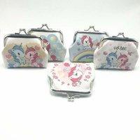sevimli çanta desenleri toptan satış-50 ADET Moda Mini Unicorn Desen Bayan PU Cüzdan Sahipleri Parti Ev Sevimli Sikke Çantalar