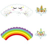 magdalena de los niños al por mayor-Cupcake Wrappers 24 unids Unicorn Rainbow Cake Toppers decoración de cumpleaños niños niños ducha partido suministros venta caliente 6 8rz Y