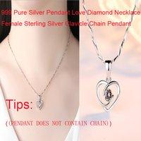 999 silberne kette großhandel-999 Pure Silver Anhänger Love Diamond Halskette Weiblich Sterling Silber Schlüsselbein Kette Anhänger