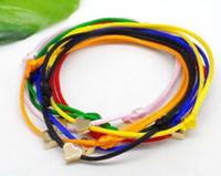 rote string armband herzen großhandel-100pcs / lot Herz-Liebes-Armband-Seil-glückliches rotes Armband für Frauen-Kinderrot-Schnur-justierbares handgemachtes Armband DIY