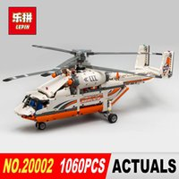 Wholesale toy rotor - NEW LEPIN 20002 technic series 1060pcs Double rotor transport helicopter Model Building blocks Bricks Compatible 42052 Boy toys