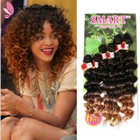 Wholesale Synthetic Curly Hair Wefts - 14-18inch Curly Weave Synthetic Extensions Sew in Hair WeaveColormix Deep Wave Synthetic easy install Wefts 6pcs Pack hair bundles cheap