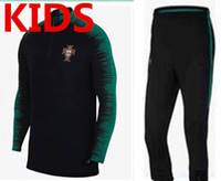 Wholesale boys suits clothing - Portugal tracksuit kids Training suit pants football Portugal clothes sportswear kids Sweater 2018 world cup youth tracksuit