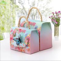 décoration de mariage achat en gros de-20pcs Sacs cadeaux avec poignées papillon Fleurs Dessert papier Boîtes bonbons décoration de mariage Mariage Belle Emballage cadeau