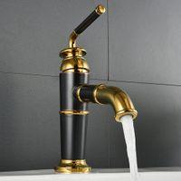 Wholesale hotel basin - Basin Faucets Retro Faucet Wash Basin Faucet Hotel Copper Gold Mixer Taps Hot and Cold Taps Basin Mixer Faucet Torneira WF-9918