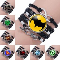 Wholesale superman bracelets - Fashion Super Hero Superman Glass Cabochon Infinity Love Leather Bracelet For Girls Women time gemstone Jewelry Gift drop shipping 320052