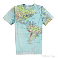 Wholesale map o - New 2017 Fashion Design Wolrd Map 3D Printing Men's Short Sleeves Cotton Men O Neck T-shirts Free Shipping