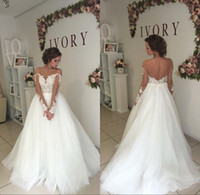 Wholesale pretty ball gown wedding dresses resale online - Pretty Lace Ball Gown Wedding Gowns Modest Backless Long Sleeves Bohemian Country Bridal Wedding Dresses