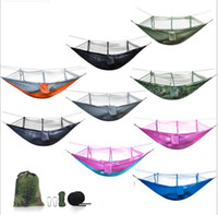 Wholesale portable folding camp beds online - 260 cm Portable Hammock With Mosquito Net t Single person Hammock Hanging Bed Folded Into The Pouch For Camping Sleeping Hammock KKA5042
