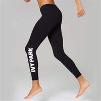 Wholesale Womens Stretch Black Pants - new hot ladies Beyonce IVY PARK letters print breathable stretch long pant skinny leggings womens sport joggers