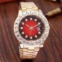 bracelet diamant rouge or achat en gros de-Relogio Gold Luxury Men Automatique Glacé Out Watch Mens Marque Watch Daydate Président Montre-Bracelet Rouge Affaires Reloj Big Diamond Montres Hommes