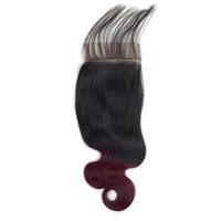 cheveux humains de 12 pouces 99j achat en gros de-Fermeture de la vague de corps brésilien Ombre T1B / fermeture de dentelle de cheveux humains de Bourgogne Fermeture de cheveux Remy rouge 99J 10-20 pouces