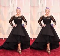 черное платье kelly osbourne оптовых-Плюс размер Длинные формальные вечерние платья Оскар Келли Осборн Знаменитости Черные кружева Высокий низкий красный ковер Платья Ruffles Prom Party Gowns BO7899