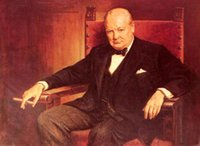 Wholesale painted art chairs for sale - Group buy Handpainted HD Printed oil painting Portrait Sir Winston Churchill smoking in chair Home Decor Wall Art On Canvas Multi Sizes p165