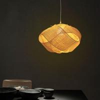 Discount rattan dining lamp - Bamboo Wicker Rattan Cloud Shade Pendant Light Fixture Japanese Tatami Hanging Ceiling Lamp Plafon Lustre Avize Luminaria Design LLFA