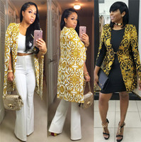 bilder qualität passt großhandel-2018 Modedruckmuster-Frauen-lange Mäntel mit Kappen-Hülsen Elegante Frauen-Klage-Blazer-echtes Bild Qualitäts-OL-Trenchjacken