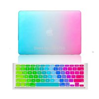 Wholesale laptop pink keyboard online - Rainbow Matte Case with Silicone Keyboard Cover for MacBook air Pro retina Laptop bag case for mac book inch