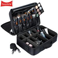 make-up koffer reise großhandel-Soomile Marke Professionelle Make-up Tasche Kosmetiktaschen Bolso Mujer Travel Große Kapazität Frauen Make-up Veranstalter Aufbewahrungskoffer