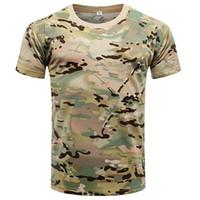 camisas táticas de secagem rápida venda por atacado-2018 Novos Homens de Verão Tático Militar de Combate Camisas de Manga Curta Respirável de Secagem Rápida Camo T Camisas de Camisa Esporte