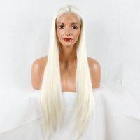 ingrosso morbido colore naturale dei capelli biondi-Parrucche frontali in pizzo Novità Onda naturale Bionda Bianco Colore misto Parrucche sintetiche Anteriore in pizzo Parrucca ondulata resistente al calore per donne Capelli morbidi