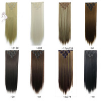 Wholesale human hair mixed synthetics for sale - Group buy cheapsale crurly Blond Black Brown Straight Clip Brazilian Remy Human hair Clips in on Human Hair Extension set Full Head FZP8