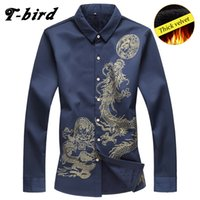 Großhandels-T-Bird Männer Shirt Marke Long Sleeves Herren Dragon Tattoo Camisa Masculina Kleider Hemd beiläufige männliche Verdickung Shirt Plaid 7XL