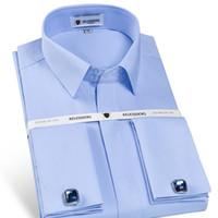 elegante französische kleider großhandel-Herren Nicht Eisen Slim Fit Französisch Manschette Kleid Shirt Langarm gefütterte Knopfleiste Solid Twill elegante Smoking Shirts (Manschettenknöpfe enthalten)