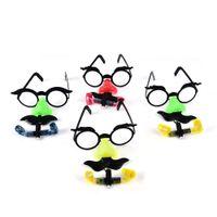 lunettes jouets rondes achat en gros de-Drôle Clown Nez Moustache Lunettes Whistle Costume Balle Cadre Rond Faux Nez souffler Dragon Joke astuce jouet Party Favors 2PCS