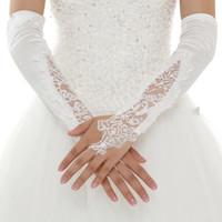 luvas de renda de algodão branco venda por atacado-Nupcial de Alta Qualidade Lace Fingerless Cotovelo Comprimento Apliques Branco Vermelho Luvas De Casamento De Algodão Mulheres Luvas de Noiva De Casamento