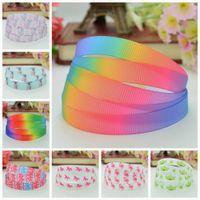 "Wholesale grosgrain printed ribbon 9mm - DUWES 3 8"" 9mm unicorn gradient colors stella Lou Printed grosgrain ribbon hair bow DIY handmade wholesale OEM 50YD"