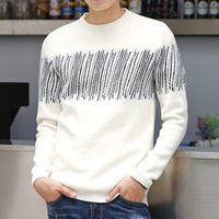 Wholesale Yellow Striped Sweater Women - Tide Brand Designer Sweater Men Lover Pullover Sweaters Knitted Crew Neck Mens Sweater Luxury Clothing White Striped Women Clothes