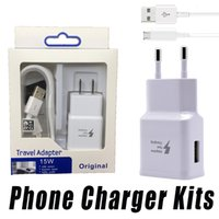 Wholesale Mobile Phone Travel Charger - Quick Charger 2 In 1 5V 2A Adapter US EU Plug Home Travel Wall Charger Kits USB Cable Data Sync Cable For Samsung Mobile Phone