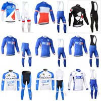 Wholesale team fdj - FDJ COLNAGO team Cycling long Sleeves jersey (bib) pants sets in spring autumn bicycle wear MTB bike sport ropa ciclismo hombre E1104