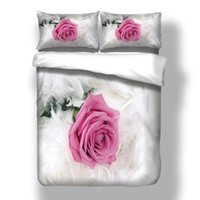 conjuntos de cama florais rosa rosa rosa venda por atacado-Wongsbedlinen 3D Romântico Rosa Conjunto de Cama Rosa Rosa Capa de Edredão Twin Queen King Size 3 PCS Lençóis Frete Grátis