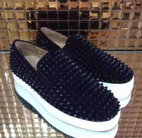 Wholesale boat rollers - 2018 Top Luxury Brand Men's Designer Sneakers Red Bottom Sneaker White Black Spikes Leather Pik Roller-Boat High Low 35-46