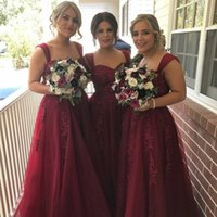 Wholesale Inexpensive Silver Wedding Dresses - 2018 Hot Burgundy A line Bridesmaid Prom Dresses Inexpensive Designer With Straps Tulle Applique Long Wedding Guest Evening Dress Gowns