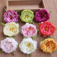 korsaj gerçek çiçek toptan satış-8.5 cm Yapay Ipek Çiçekler Kafa Kamelya Başkanları Küçük Gerçek Dokunmatik Çay Düğün Buket Şapka Korsaj Için Gül Diy Dekorasyon 20 Adet / grup
