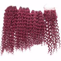 bordo saç örgüleri toptan satış-Bordo Renkli Saç 3 Demetleri Ile Dantel Kapatma Ücretsiz Bölüm Işlenmemiş Bakire Saç # 99J Kinky Kıvırcık Saç Örgüleri Ile Üst Kapatma 4x4