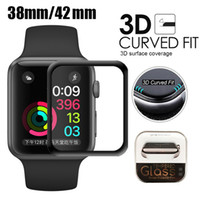 Wholesale black screen watch for sale - Group buy For Apple Watch D Full Coverage Tempered Glass Screen Protector mm mm mm Anti Scratch Bubble Free For iWatch Series