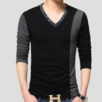 Wholesale Autumn mens luxury brand designer t shirts striped long sleeve t shirt contrast stitching clothes casual V neck plus size men shirts