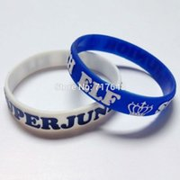 Wholesale free rubber wristbands for sale - Group buy 300pcs Embossed Super Junior elf wristband silicone bracelets rubber cuff wrist bands bangle by FEDEX