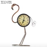рабочие часы оптовых-Tooarts Flamingo Wrought Iron Clock Retro Desks Clock decoration Handmade Vintage Metal Home Decor Figurine Mute Table