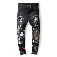 горячий мальчик черный брюк оптовых-Горячая продажа размер 29-38 плюс одежда Тигр голова вышитые мужчины черные джинсы брюки Hombres Жан брюки мальчики мужские хип-хоп джинсы