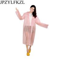 kinder rote regenmäntel großhandel-Mode EVA Frauen Regenmantel Verdickt Wasserdicht Regen Mantel Frauen Klar Transparent Camping Wasserdichte Regenkleidung Anzug