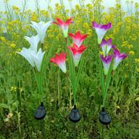 Wholesale garden solar stone - Solar Energy Lily Festive Lamp 4 Head Simulation Garden Courtyard Lawn Lamps Colourful Decorative LED Light Hot Sale 22wn Y