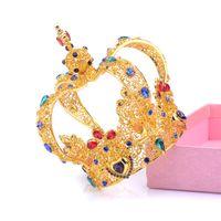coronas de alta gama tiaras al por mayor-Joyería exagerada corona retro corona circular ornamento, gama alta joyería barroca tiara boda nupcial accesorios para el cabello velos diseñador