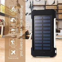 Wholesale Cellphone Battery Bank - 30000mAh Solar power bank waterproof shockproof Dustproof portable Solar powerbank External Battery for Cellphone iPhone 7